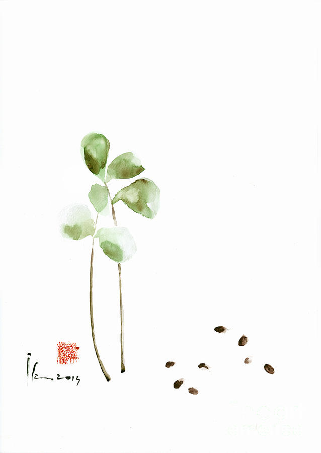 638x900 Coffee Cafe Plant And Beans Brown Green Watercolor Painting