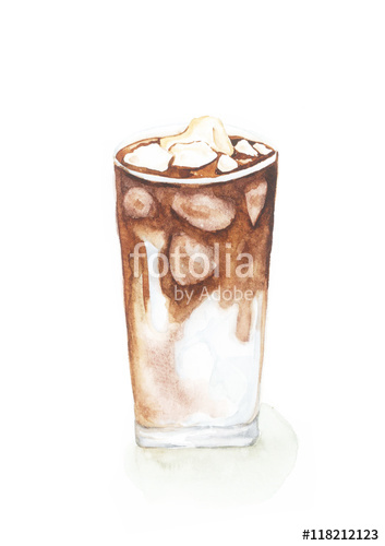 353x500 Ice Coffee, Watercolor Painting Isolated On White Background