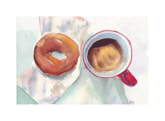 570x418 Watercolor Painting Still Life Red Brown Coffee