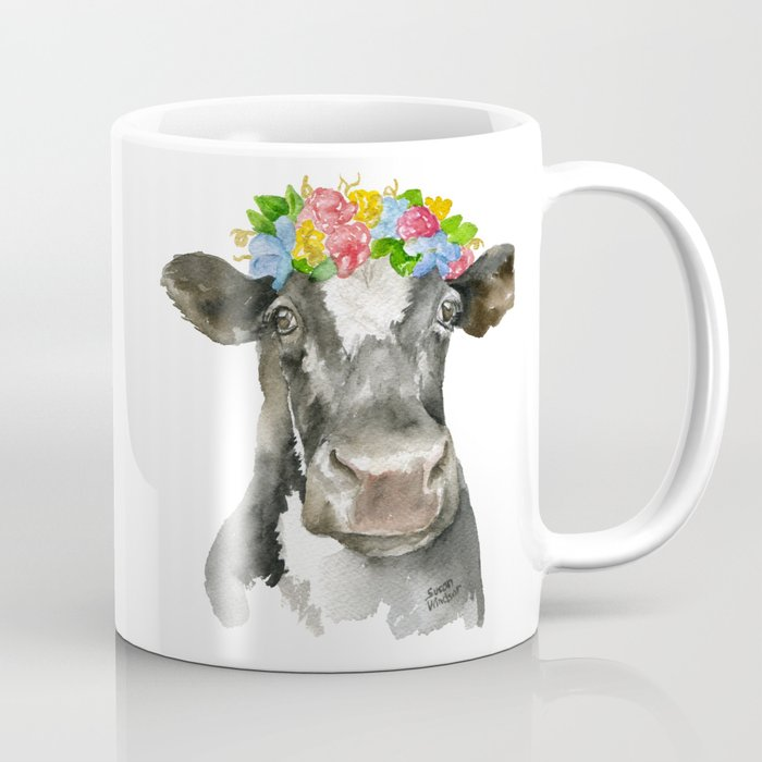 700x700 Black And White Cow With Floral Crown Watercolor Painting Coffee