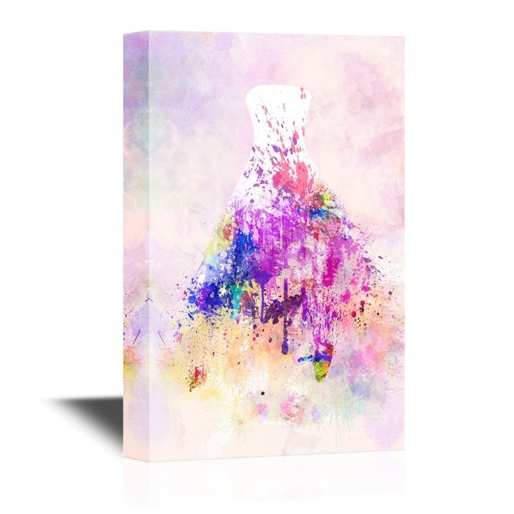 1000x1000 White Wedding Dress With Color Splash On Watercolor Style