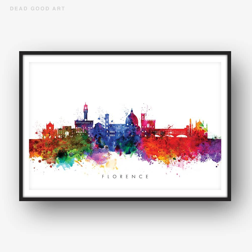 1000x1000 Florence Skyline, Multi Color Watercolor Print Dead Good Art