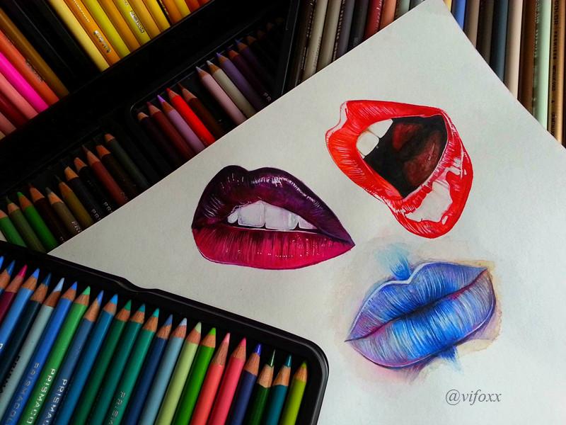 800x600 Lips Watercolor. Colored Pencils. Realistic By Vifoxx Art