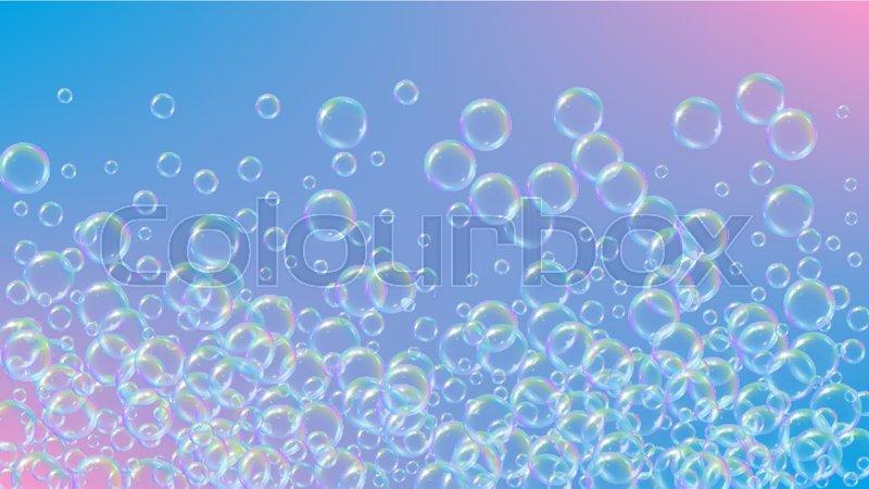 800x450 Bath Foam On Gradient Background. Realistic Water Bubbles 3d. Cool