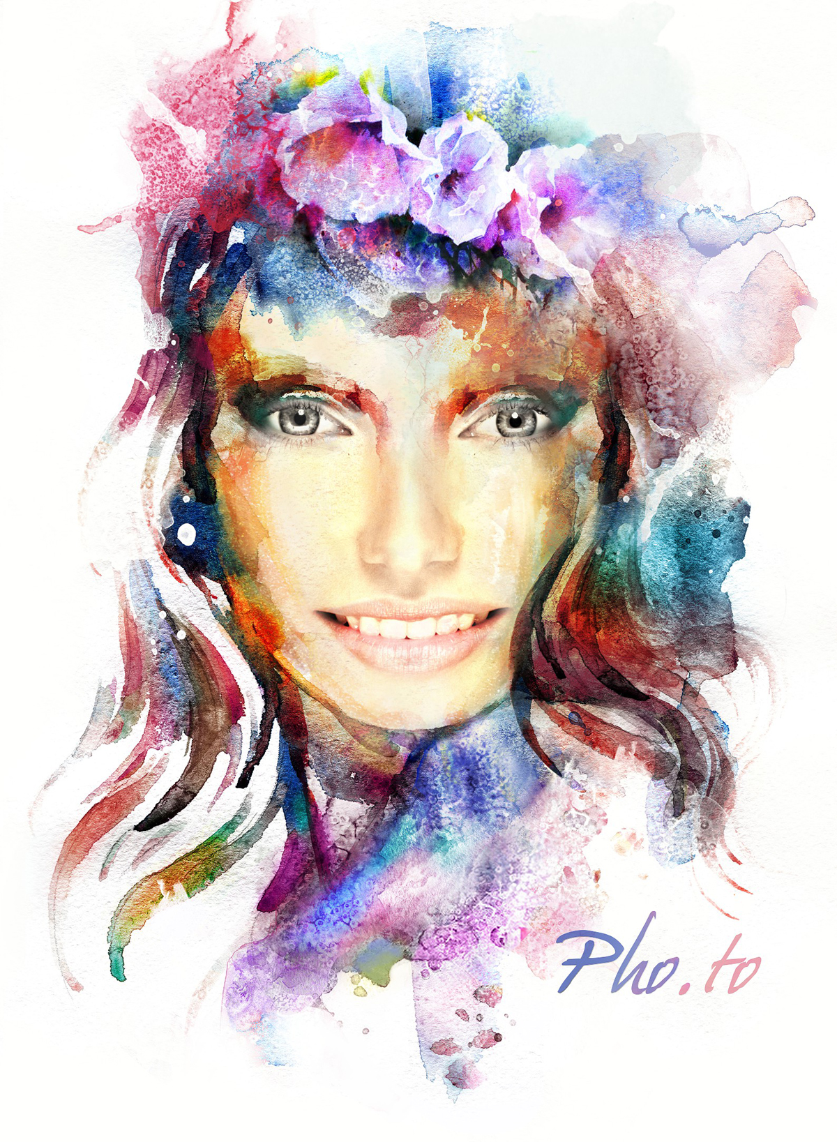 1200x1637 Female Watercolor Face In Hole Photo Effect Online.