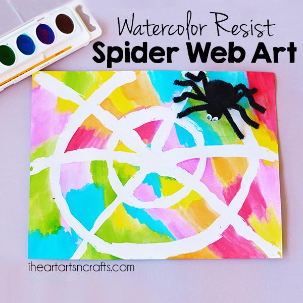 600x600 Water Color Resist Spider Web Kids Art