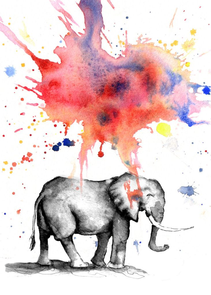 Colorful Watercolor Elephant Painting