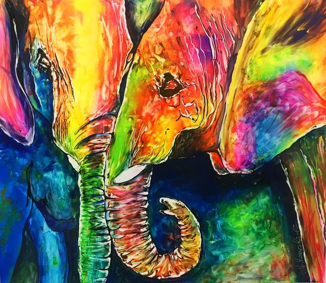642x558 Colorful Elephant Painting Elephant Decor Elephant Art Love Etsy