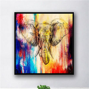 300x300 Colorful Watercolor Elephant Head Inkjet Abstract Animal Picture