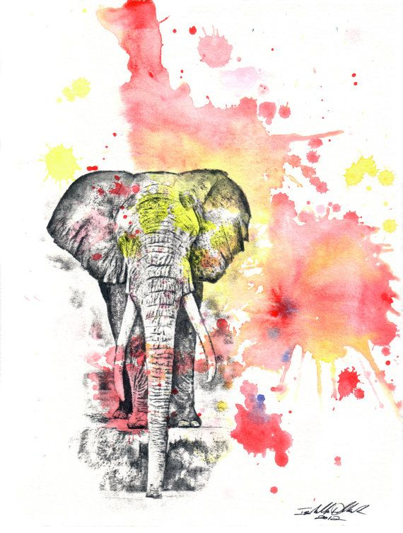 570x753 Elephant Art Animal Poster Print From Original Watercolor Painting