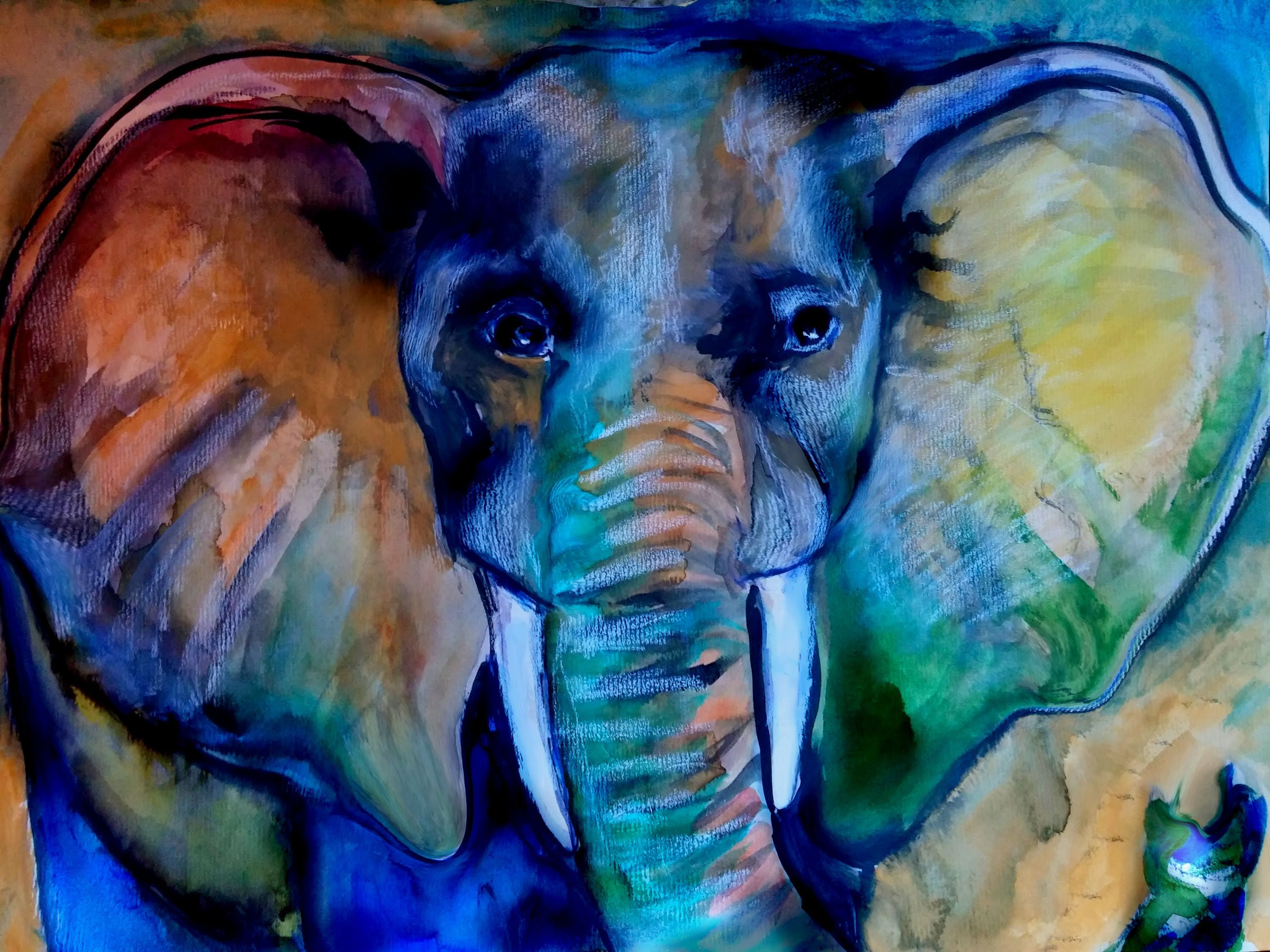 3000x2250 Speed Painting Watercolor Free Form Elephant
