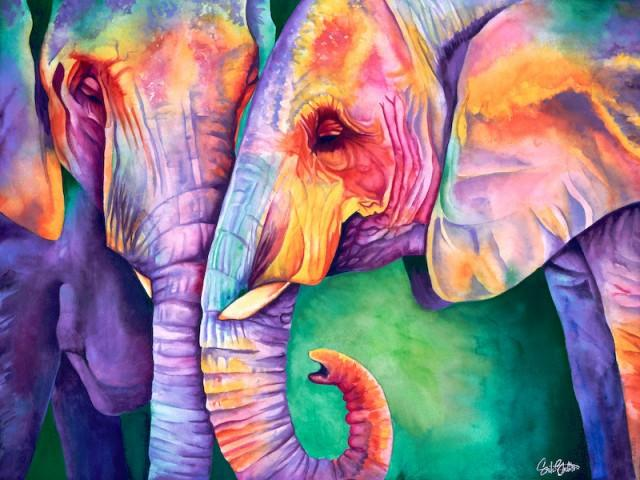 640x480 All Ears Signed Print From Original Watercolor Elephant Painting