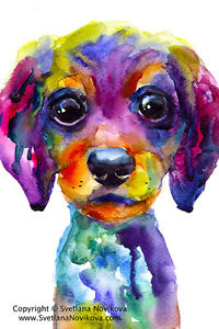 200x300 Art Print Colorful Watercolor Dachshund Dog Puppy Painting