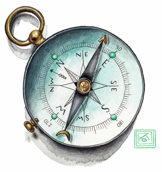 570x604 Antique Compass Watercolor Archival Print Watercolor Compass Etsy