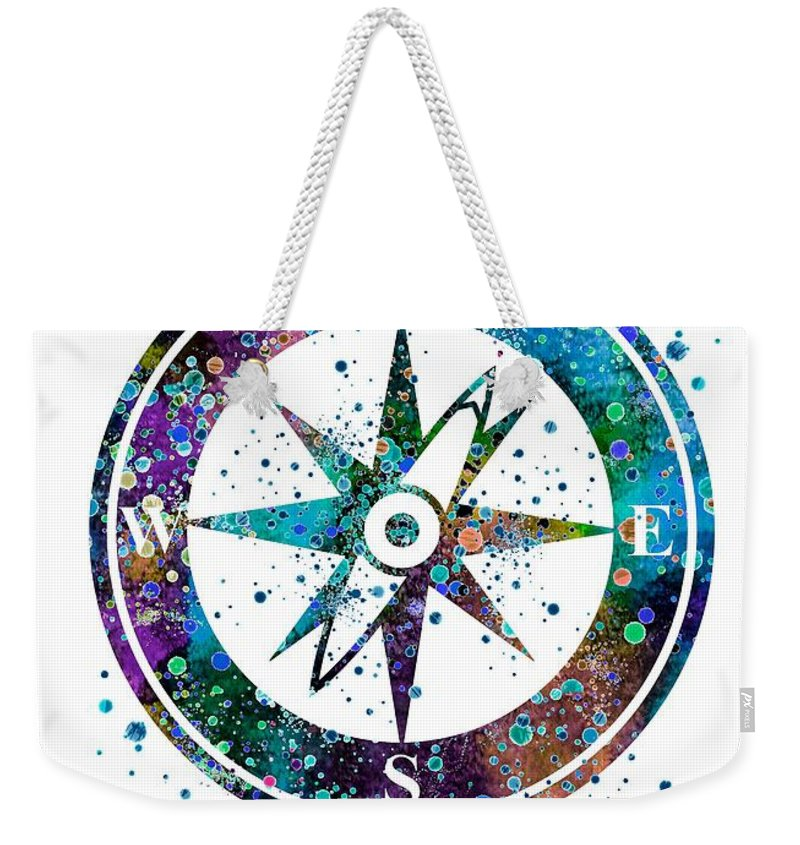800x845 Blue Compass Watercolor Print Nautical Painting Weekender Tote Bag