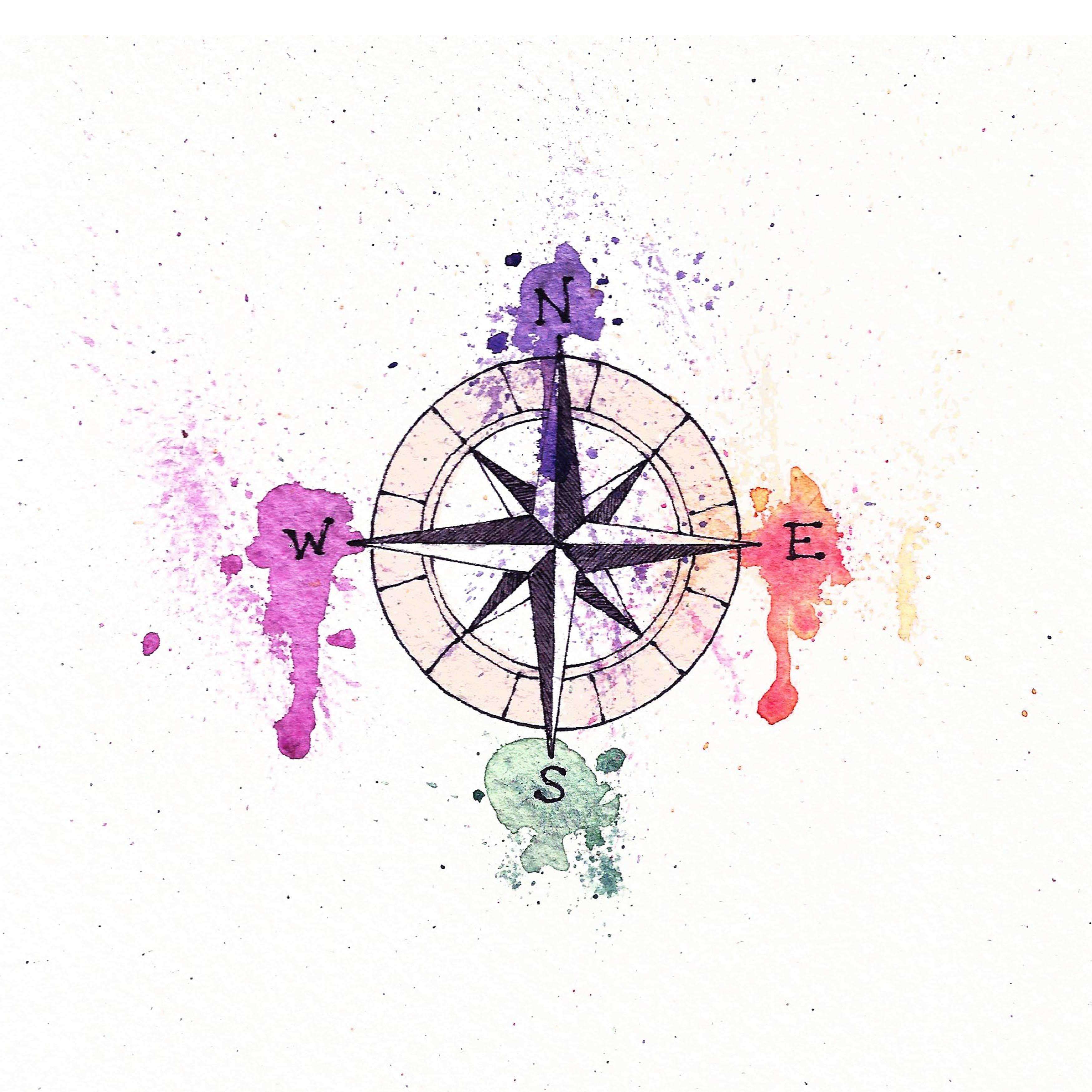 3500x3500 Compass Watercolor Splash Art Artworks Compass And