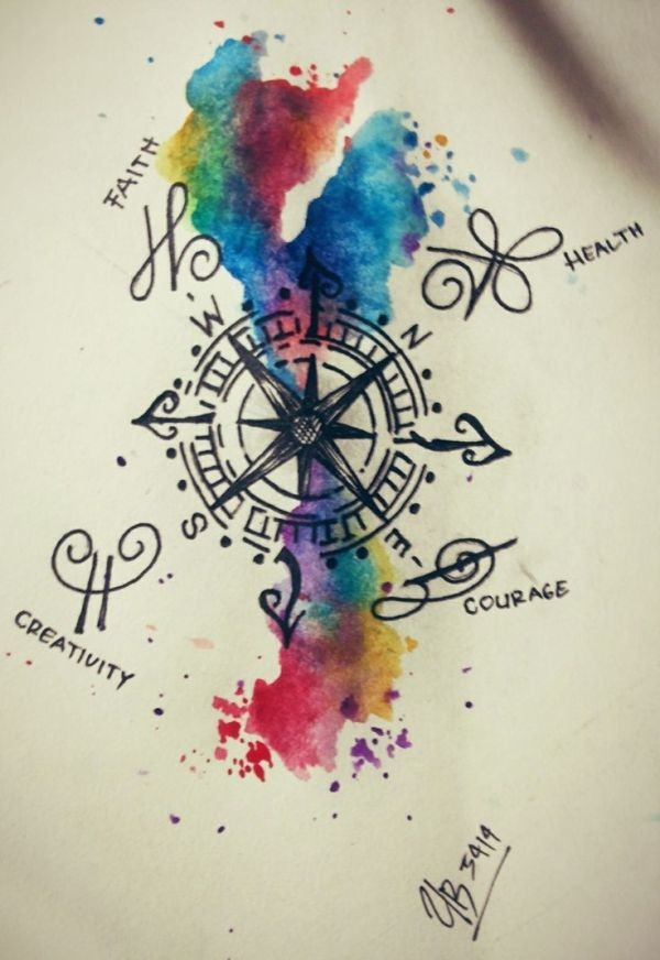 600x872 Image Result For Compass Watercolor Tattoo Misc Loveables