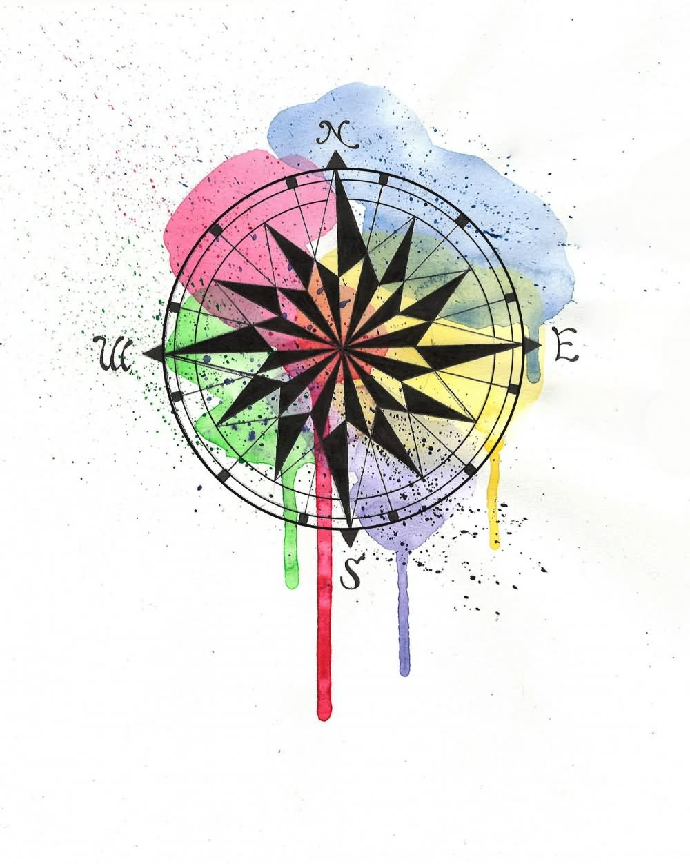 1000x1252 Left Hand Watercolor Compass Tattoo