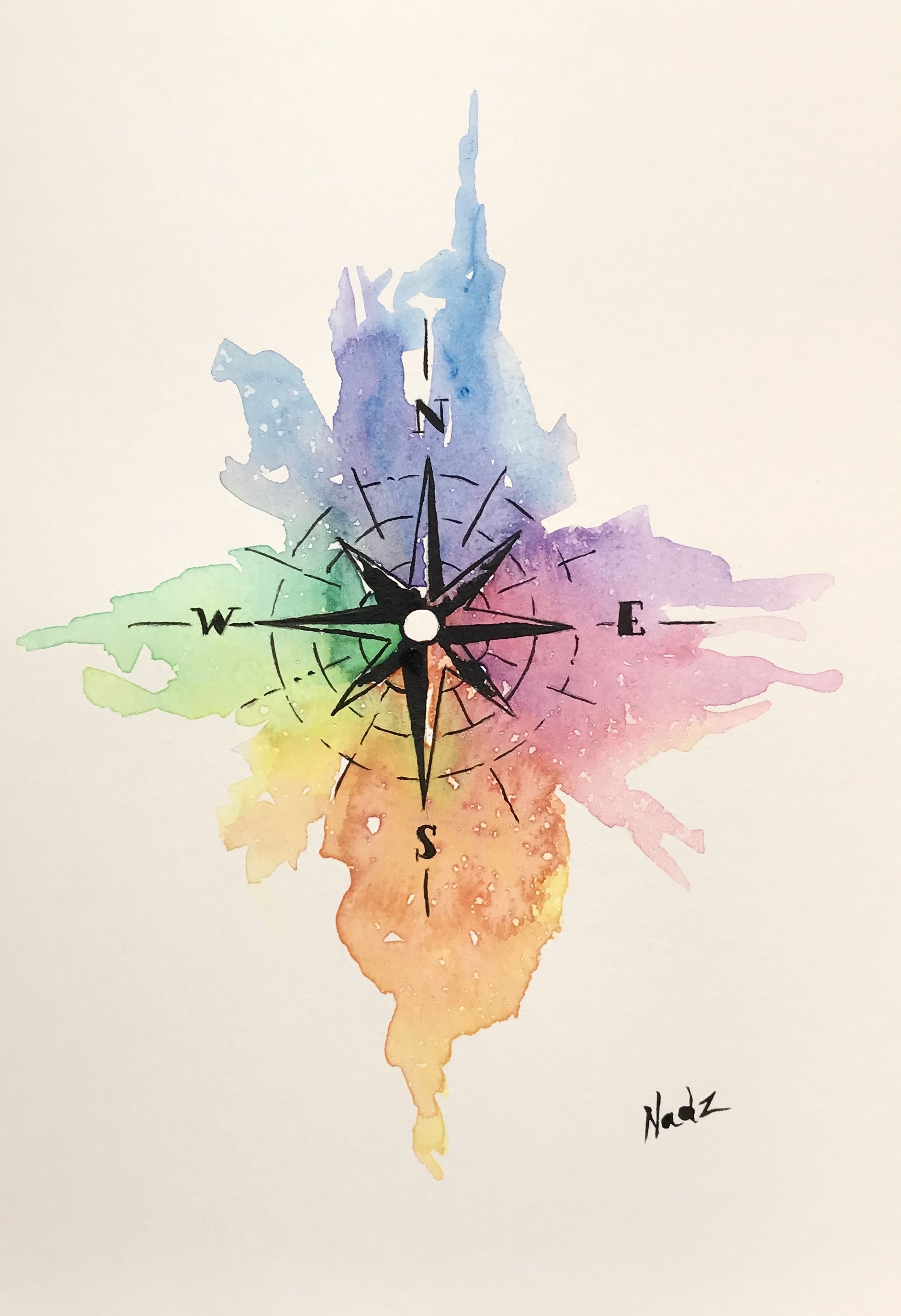 1880x2746 Watercolor, Painting, Etsy, Compass, Gift Idea Arte In 2018