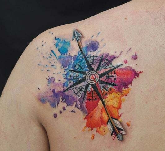 532x487 Watercolor Compass And Arrow Nautical Tattoo On Back Shoulder
