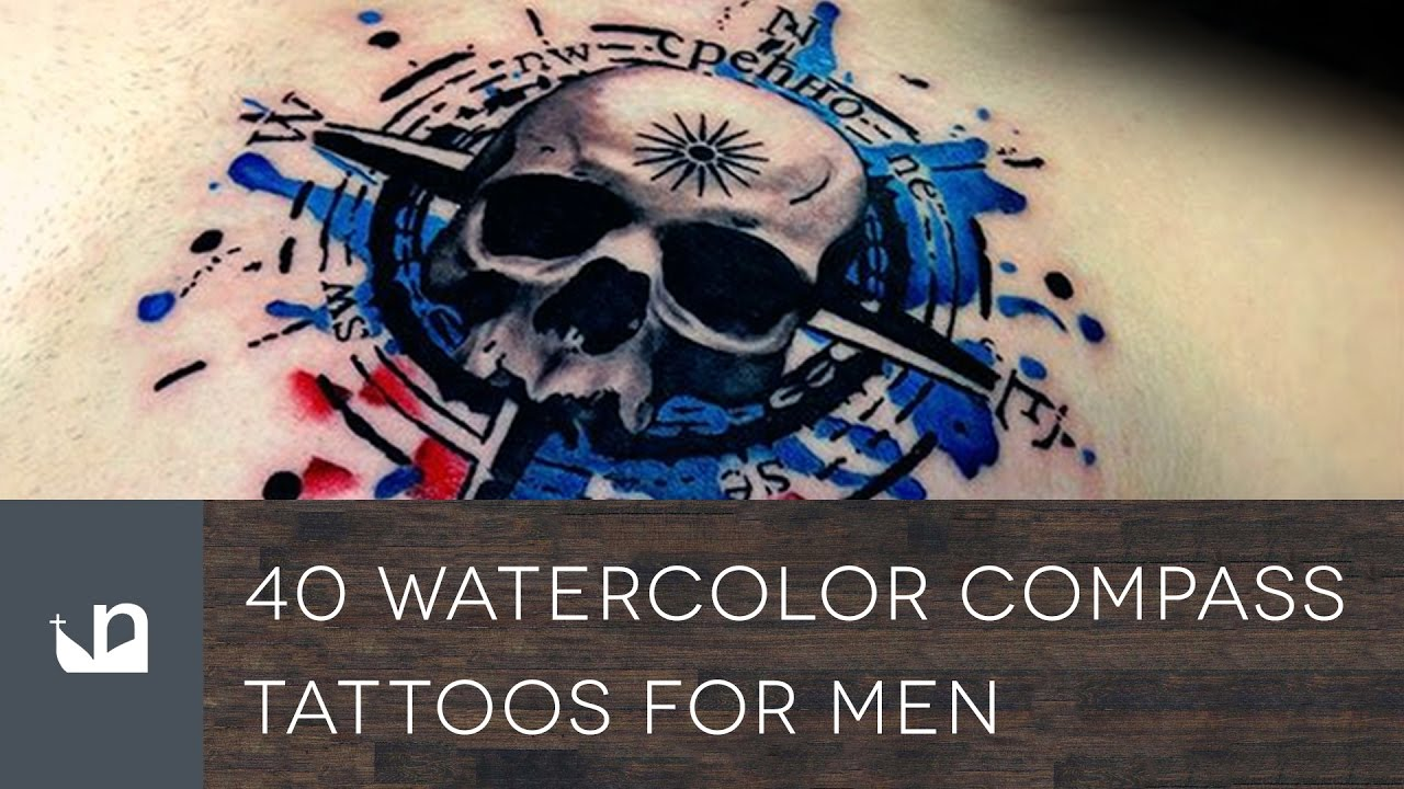 1280x720 40 Watercolor Compass Tattoos For Men
