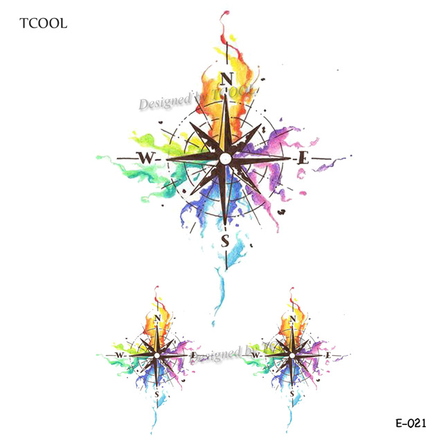 640x640 Buy Tcool Watercolor Compass Temporary Tattoo