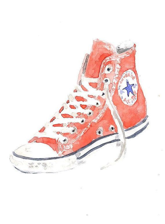 570x771 Converse All Star Shoes Original Watercolor Painting By Mydrops
