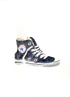236x324 Original Watercolor Painting Converse All Star Shoes By Helgamcl