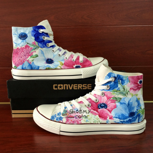 500x500 Womens Converse Gifts Watercolor Floral Hand Painted Canvas