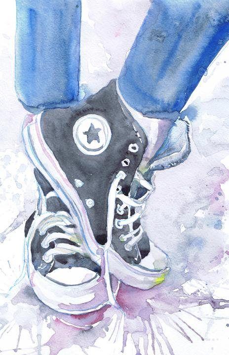 464x719 Converse Art Print Shoes Watercolor Painting Fashion Illustration