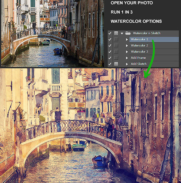 590x595 25 Artistic Watercolor Amp Sketch Effect Photoshop Actions Web