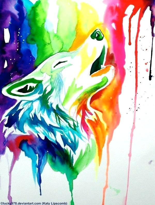 600x792 Cool Painting Ideas New Rainbow Wolf On Simple Watercolor Zippered
