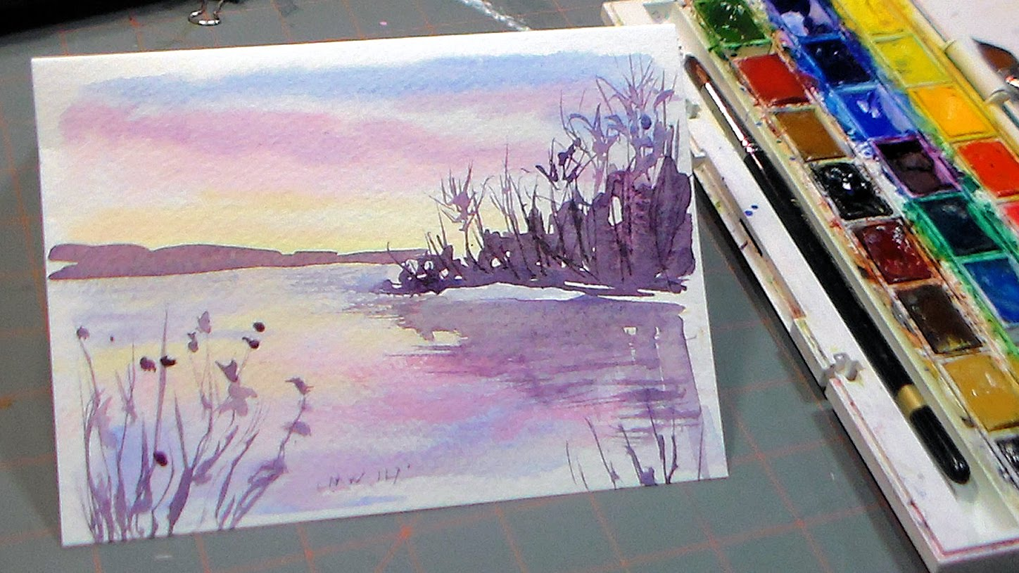 1448x815 Easy 3 Color Watercolor Sunset