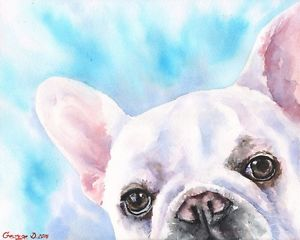 300x240 French Bulldog Watercolor Print Of The Original Watercolor