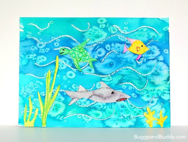 650x493 Cool Ocean Art Project For Kids Using Salt And Watercolor Paint