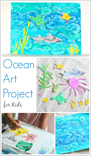 386x656 Cool Ocean Art Project For Kids Using Salt And Watercolor Paint