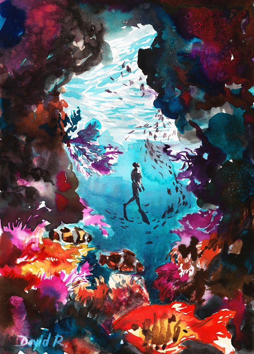 819x1144 165 Of Just Move Coral Reef Free Diving Painting David Roman Art