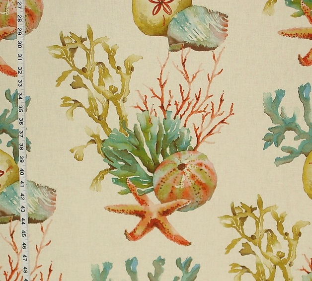 628x566 Coral Fabric Sand Dollar Seashell Starfish Reef Watercolor From