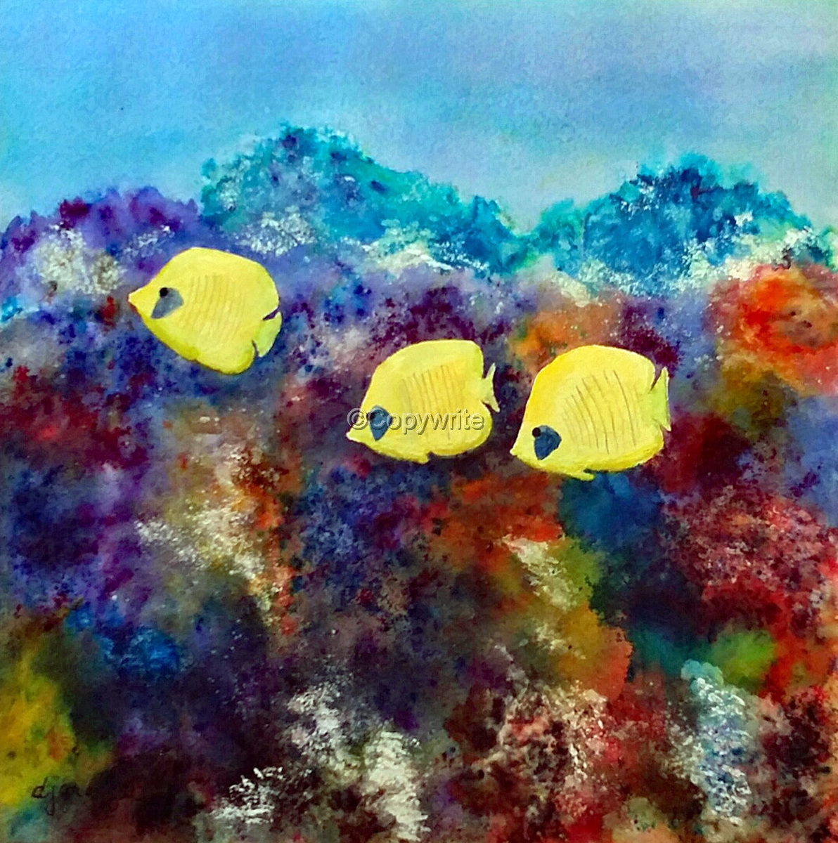 1192x1200 Marine Watercolor Paintings Three Yellow Fish In Coral Reef By