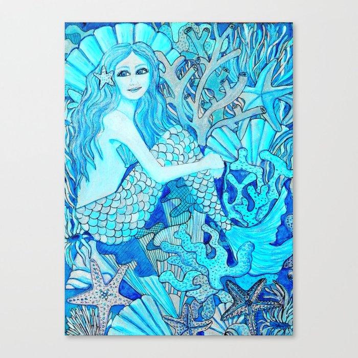 700x700 Mermaid Watercolor Coral Reef Canvas Print By Magentarose Society6
