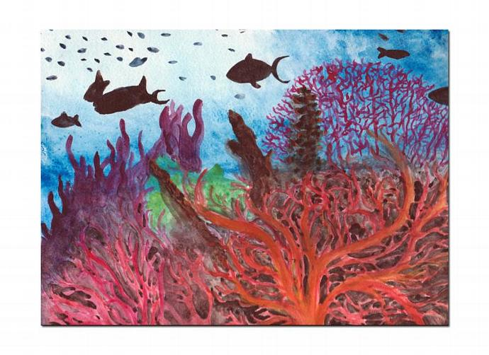 690x502 Under The Sea Watercolor Painting , Coral Reef By Samiamart On Zibbet
