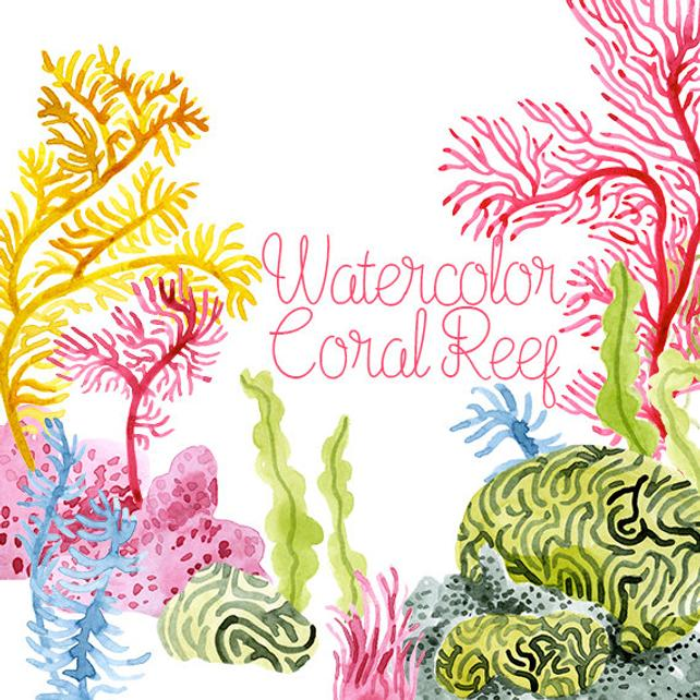 642x642 Watercolor Coral Reef Corals Clip Art Coral Reef Clipart Etsy