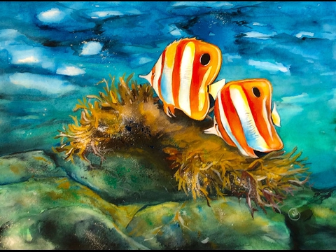 480x360 Watercolor Coral Reef Painting Demonstration