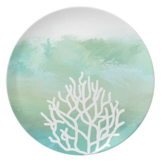 540x540 Aqua Mint Coral Reef Watercolor Modern Beach Dinner Plate