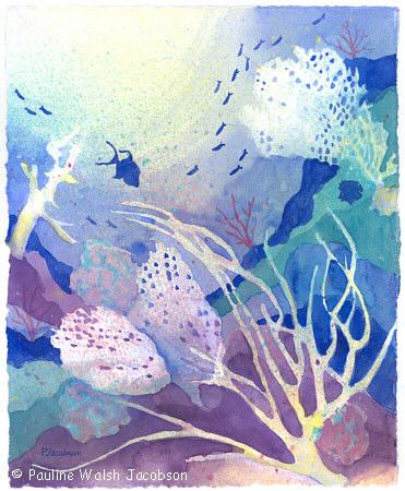 371x450 Watercolor Paintings Coral Reef Dreams 4