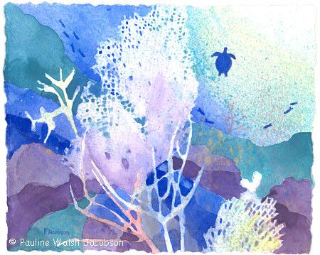 450x359 Watercolor Paintings Coral Reef Dreams 5