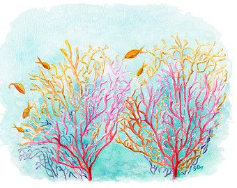 340x270 Coral Reef Murals Nursery Sea Coral 13x19 Watercolor Painting