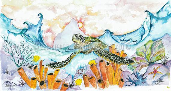 570x305 Sea Turtle Watercolor Print Coral Reef Ocean Life Etsy