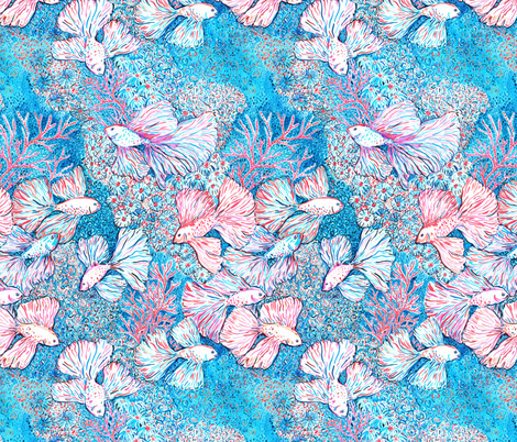 470x402 Bettafishes In Coral Reef, Malibu Inspired Watercolor Fabric