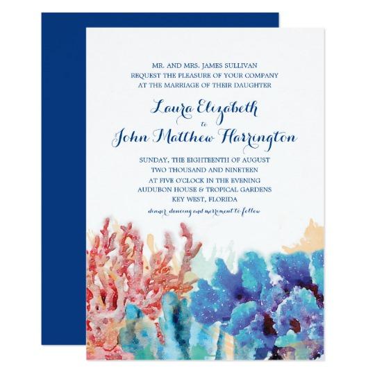 540x540 Colorful Coral Reef Watercolor Wedding Invitation